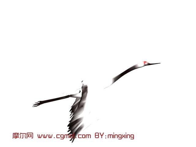 飞行的仙鹤3d模型,飞禽动物,动物模型,3d模型免费下载