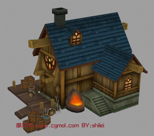古代铁匠铺,铁器铺,房子maya模型图片