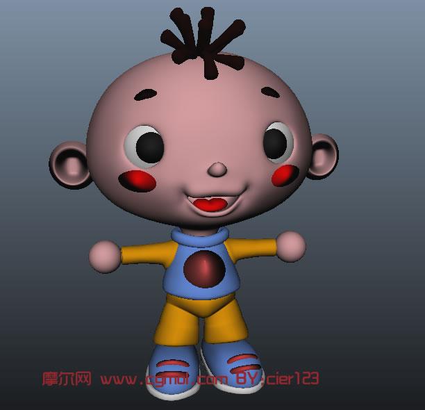 卡通小男孩 ,小三毛maya模型, 卡通角色 ,动画角高清图片
