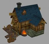古代铁匠铺,铁器铺,房子maya模型