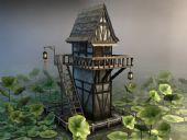 荷花楼,双层楼房,房子3D模型