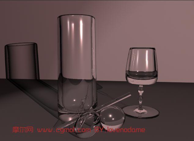 玻璃杯,高脚杯,玻璃棒3d模型