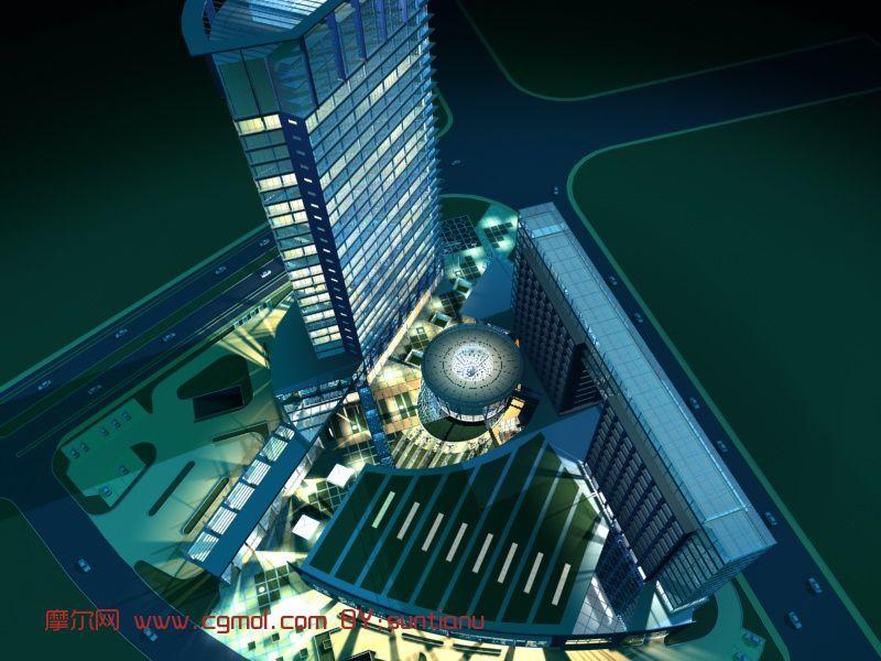 商业区建筑鸟瞰图3D模型