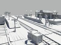 原创卡通火车站,小火车站maya模型