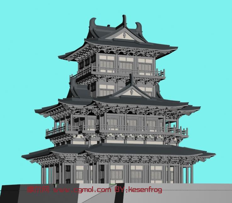 建筑模型 中式建筑  关键词:建筑城楼宫殿塔楼古典中式 作品描述图片