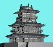 中国古典城楼,宫殿,塔楼3D模型