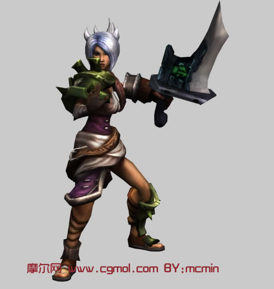LOL英雄联盟放逐之刃Riven,锐雯3D模型 其他角色 游戏角色