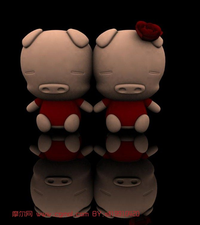 可爱情侣猪bb,猪娃娃3d模型