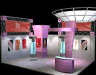 化妆品,护肤品展厅,展台3D模型