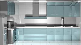 现代兰色调厨房3D模型