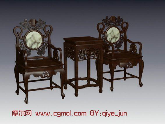 明清家具,经典复古家具,太师椅3D模型