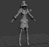 法师,游戏女模3D模型