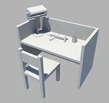 书桌,课桌,室内家居3D模型
