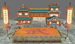 古代武馆,比武擂台,游戏场景3D模型