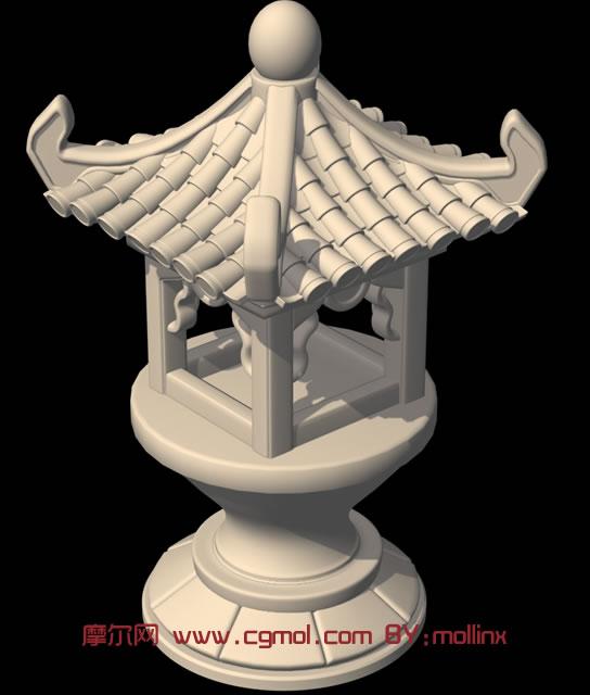 古灯,古代建筑3d模型