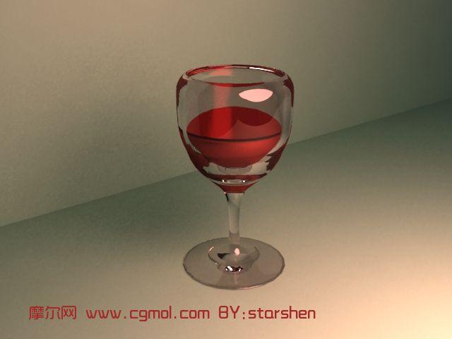 一杯红酒3d模型,整体效果