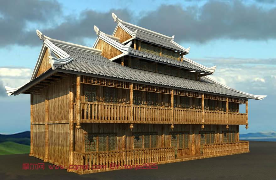建筑模型 中式建筑  关键词:苗族木楼古代建筑木房子 作品描述: 上一图片