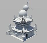萌三国酒馆,古代卡通酒馆建筑3D模型