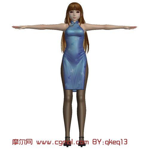 猎影之狼旗袍美女3d模型