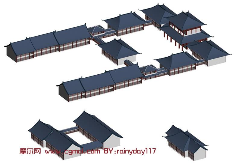 古建筑,中式建筑3d模型图片