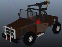 带有冲锋枪的卡车maya模型