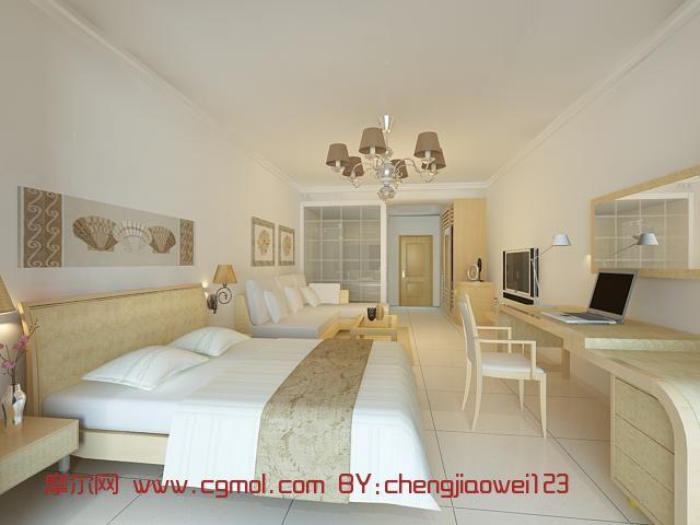 东南亚风格酒店客房3d模型