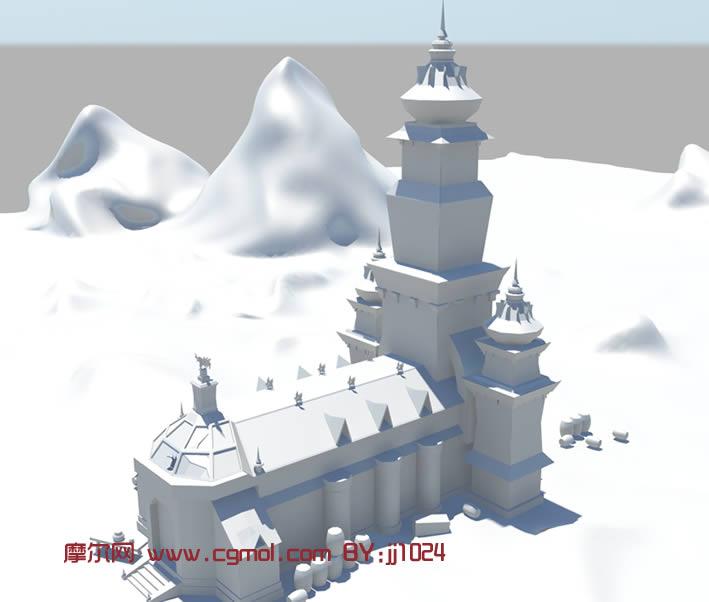 建筑模型 中式建筑  关键词:古堡maya城堡 作品描述: 上一个作品