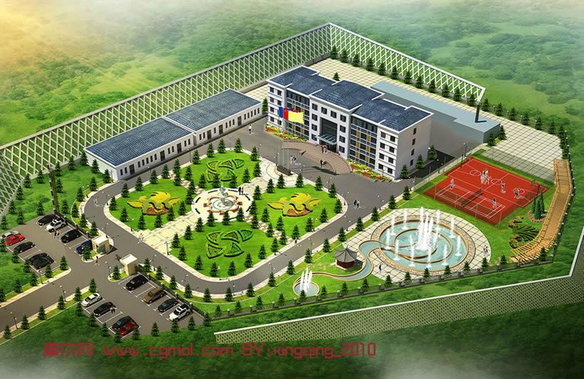 煤矿企业大楼,鸟瞰建筑3d模型