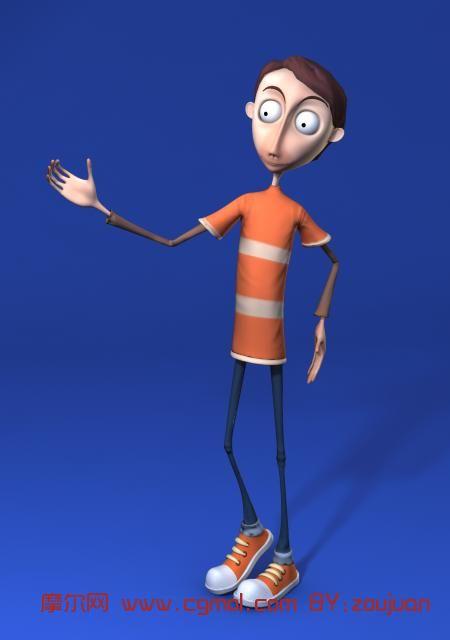 卡通人物 卡通男孩maya模型 高清图片