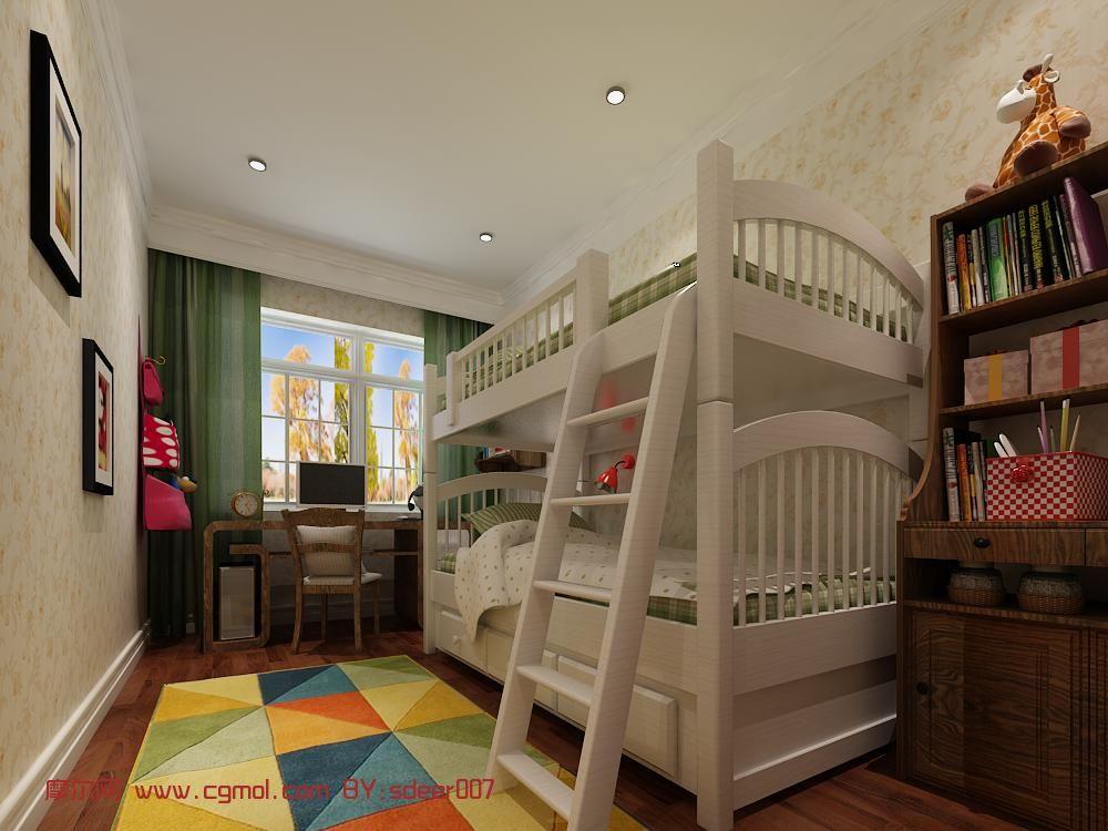 简欧风格儿童房房间,小孩房间3d模型