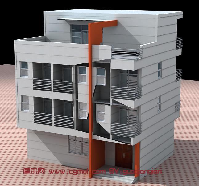三层室外别墅,楼房3D模型