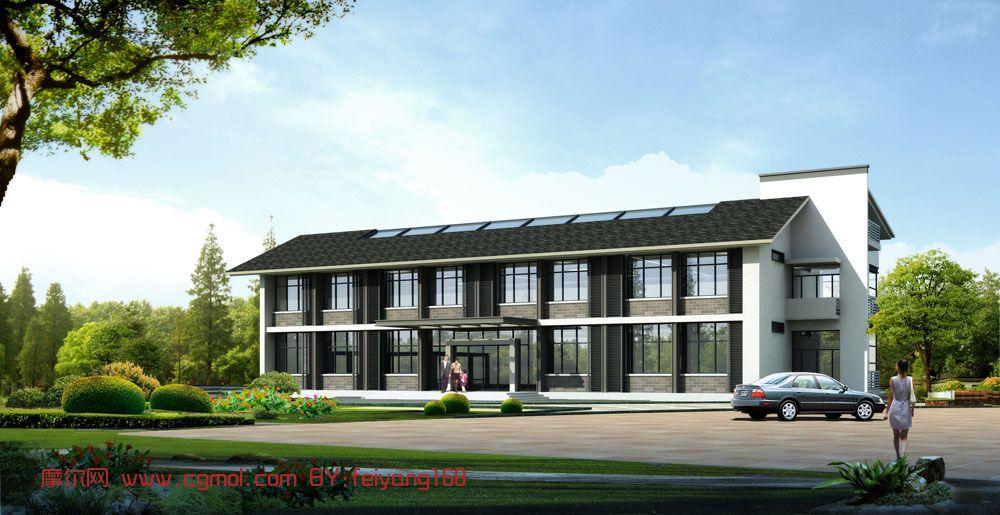 小办公楼 建筑3d模型 高清图片