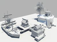 水上小木屋,亭榭,货船,荷花池,古代场景3D模型