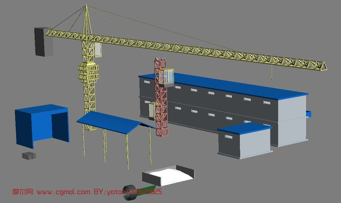 塔吊,建筑器材,建筑工地3d模型