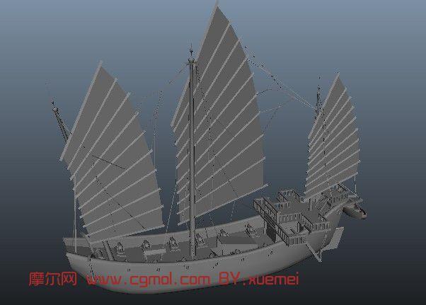 中国古船,船只3D模型