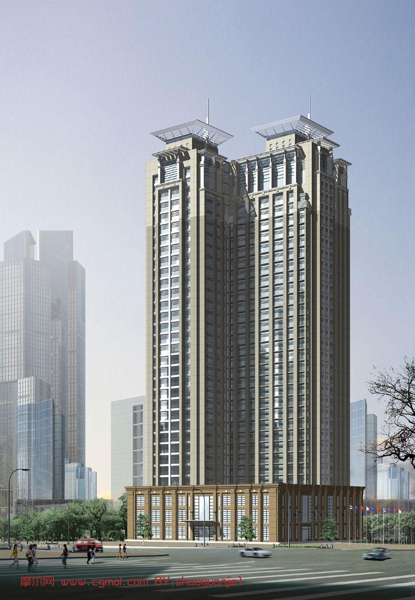 高层办公楼,自然场景3D模型