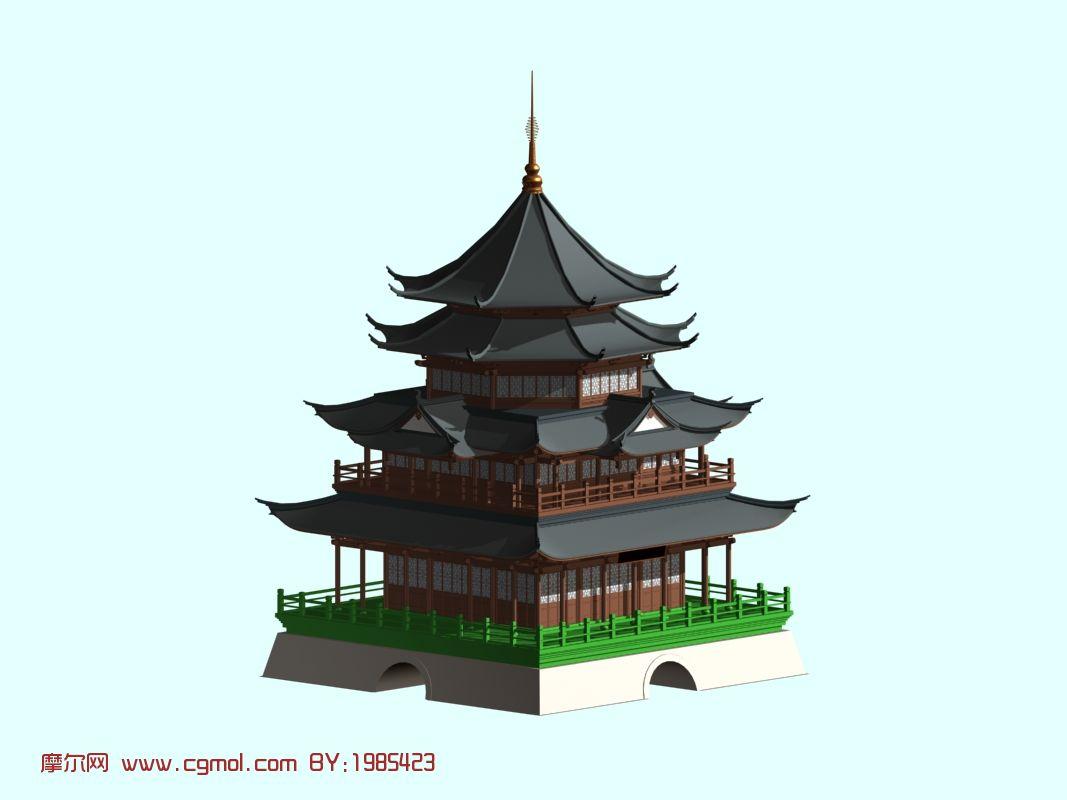 转载作品 阁楼 宝塔3d模型