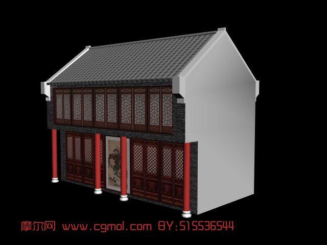 简单的古建,阁楼3d模型