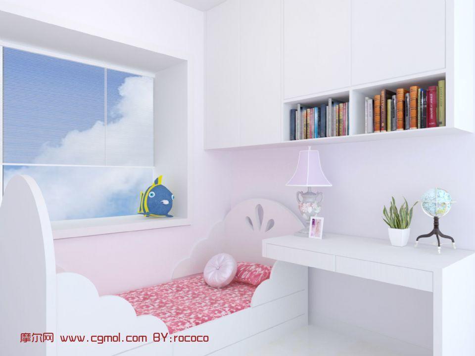 女儿房床,女孩房间3D模型