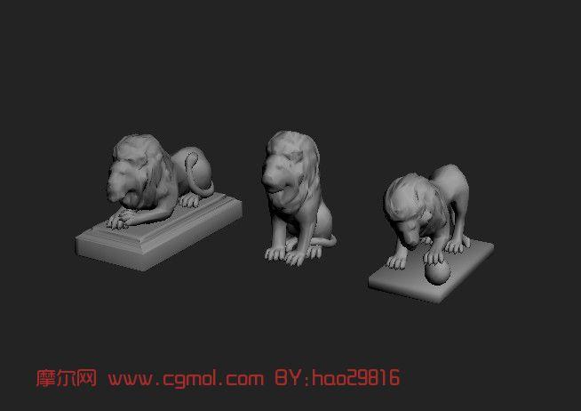 石狮子雕塑3d模型,爬行动物
