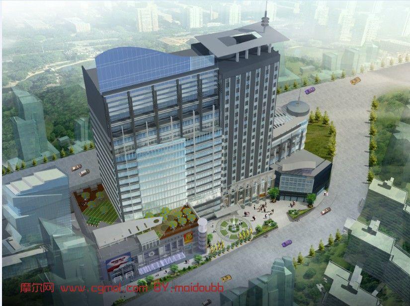 模型描述:现代商业广场及建筑设计