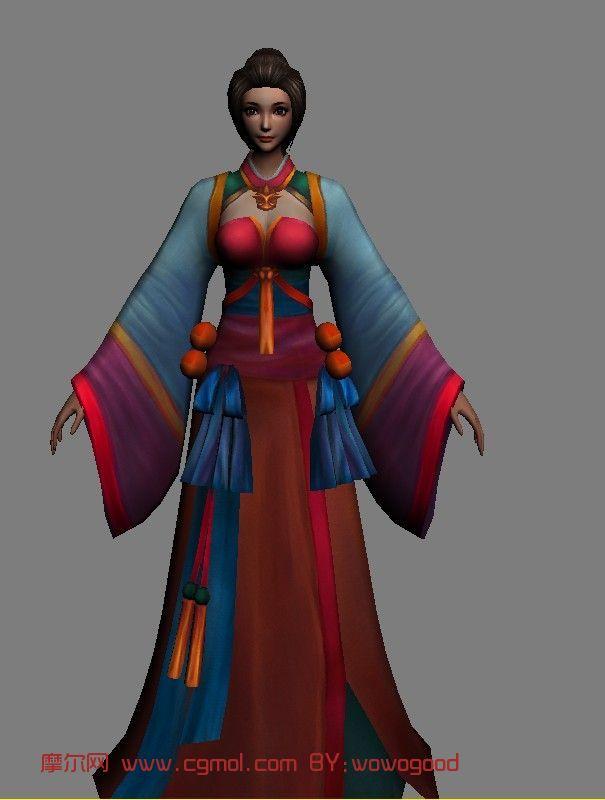 三国角色侍女女性人物角色3d模型 次时代游戏角色 游戏角...