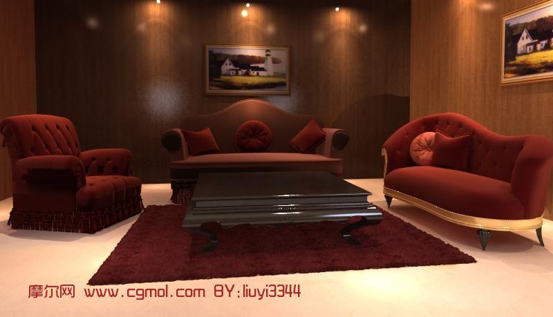04m 材质/贴图: 有 关键词:欧式沙发组合