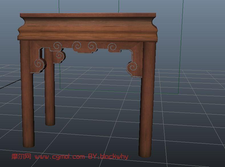 maya中式雕花凳子,家具3d模型