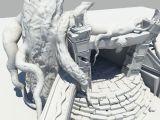 枯树,古庙入口,建筑场景3d模型