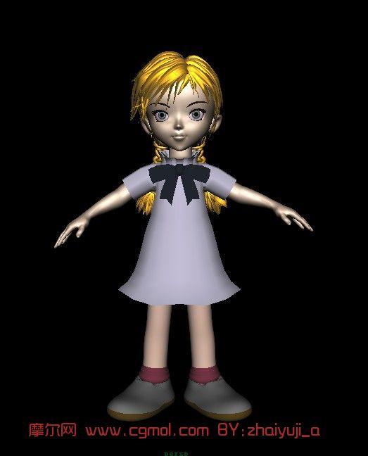 女孩,卡通人物maya3d模型
