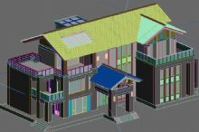 中式会所,房子,建筑场景3d模型