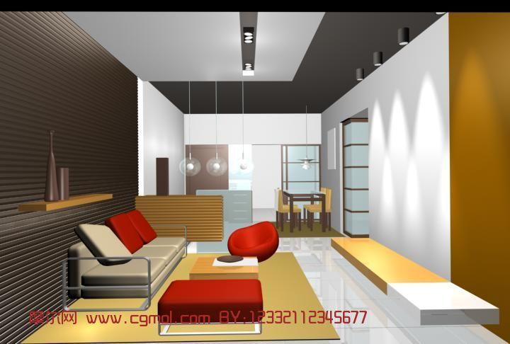 客厅,室内场景max3d模型