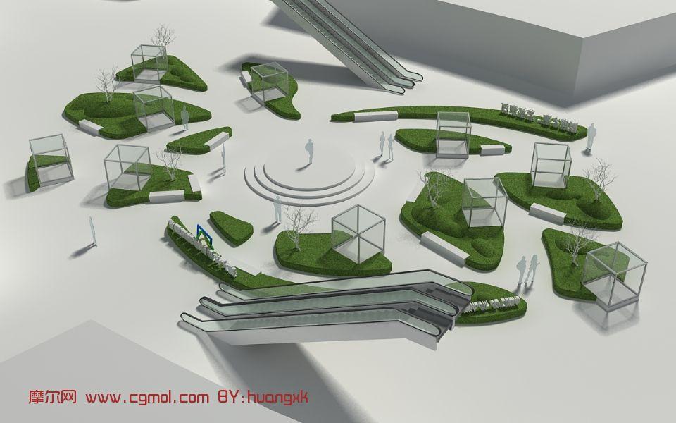 广场,室外场景max3d模型