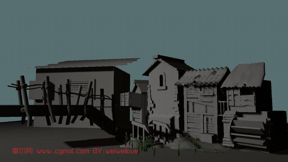 室外场景,建筑maya3d模型